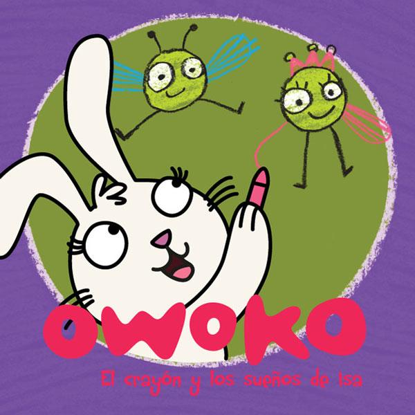 Book cover, Maia the bunny draws with crayons - Tapa del libro, la coneja Maia dibuja con crayones