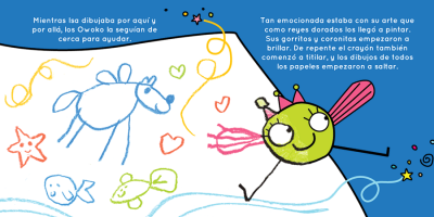 A drawn character is coming alive from the sheet of paper - un Owoko cobra vida y sale de la hoja de papel donde lo dibujaron
