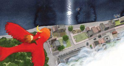Child flying on a red bird over a cityscape while the moon is reflected on the sea - Niño volando en un pajaro rojo sobre una ciudad mientras se refleja la luna sobre el mar