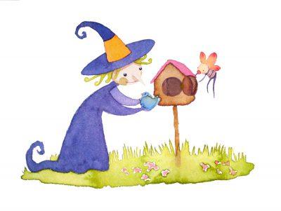 Friendly witch Tomatina and her winged friend Bubulito, help a little bird into a bird house - Brujita Tomatina y Bubulito, su amigo alado ayudan a un pajarito a entrar en una casa para pajaritos