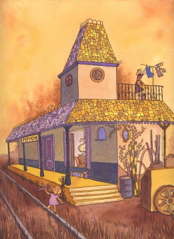 Mother and daughter living in a train station watercolour ink illustration - Madre e hija viviendo en estacion de tren - ilustracion en tinta acuarela