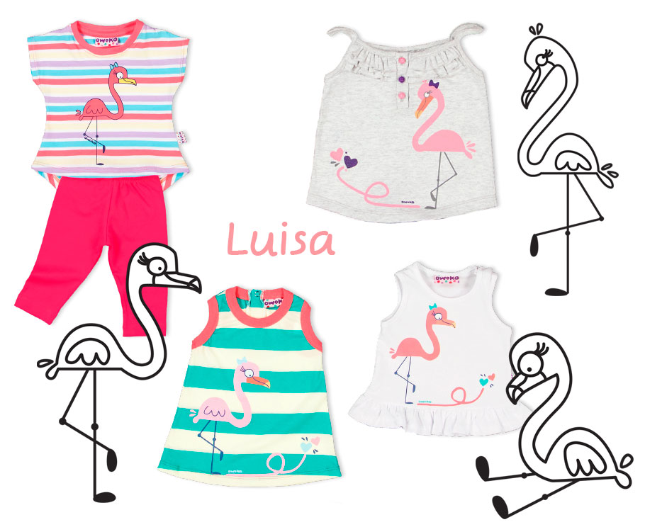 flamingo_character_on_kids_clothing_owoko - Flaminga aplicada en ropa para niñas Owoko