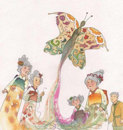 Four women and a man looking at a butterfly take flight stealing all the colours of the dresses - Cuatro mujeres y un hombre mirando como despega una mariposa robandose los colores de los vestidos