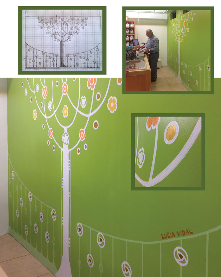 Mural with a stylized tree in white gold yellow and orange - Mural de un arbol estilizado en blanco dorado amarillo y naranga