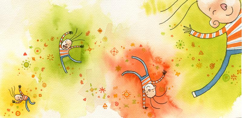 Stylized child dancing and jumping around very colourful - caricatura de un niño saltando y bailando por ahí muy colorida