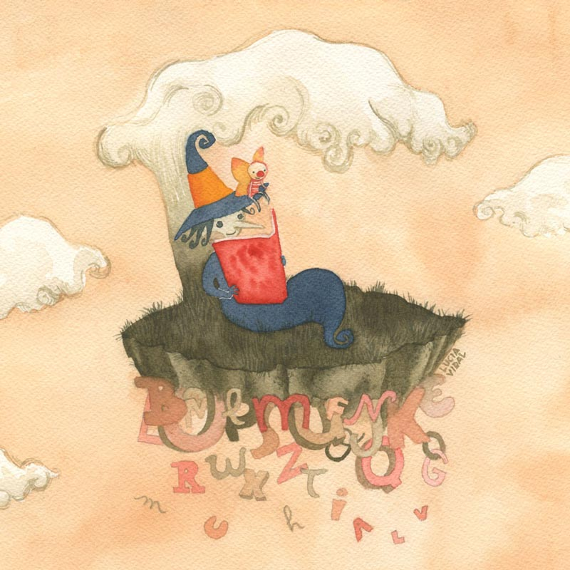 Friendly witch, Tomatina, and winged little friend, Bubulito, reading a book under an oniric tree in a floating island made of letters - Brujita Tomatina y amigo alado, Bubulito, leen un libro abajo de un arbol onírico en una isla flotante hecha de letras